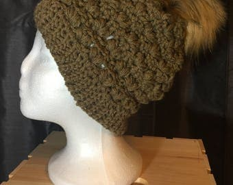 Powder Puff Slouch Hat With Faux Fur Pom Pom