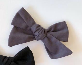 Charcoal Grey / Gray Bow | baby headband, hand tied bows, hair bows, nylon headband, alligator clip, oversized bow, pinwheel bow