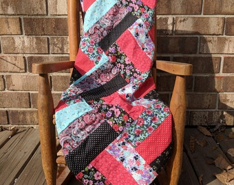 Black, Red, and Teal Minky blanket