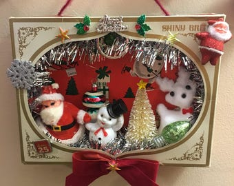 Kitschmas - Christmas Shadow Box - Christmas Vignette in Vintage Shiny Brite Box - Kitschy Christmas - Vintage Christmas