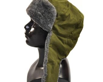 Original CZ Czech military winter hat Ushanka grey olive hat