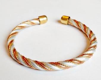 Copper Cuff Adjustable Bracelet Three-tone Twisted Wire