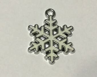 Snowflake Charm, White, Enamel, Christmas