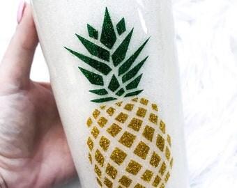 Pineapple Cup / Pineapple Mug / Pineapple Tumbler / Stainless Steel Tumbler / Custom Glitter Tumbler / Glitter Cups / Beachbody