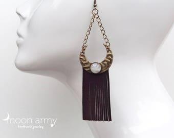 Moon fringe earrings
