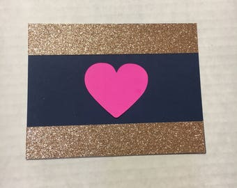 Navy, rose gold and hot pink card