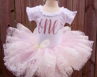 Baby Pink and Ivory lace First Second Third Birthday Rustic tutu Outfit