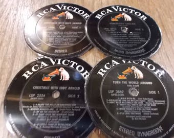 Set of 4 Eddy Arnold Rca Victor Label 33rpm Lp Centers Hand Cut Laminate Coasters