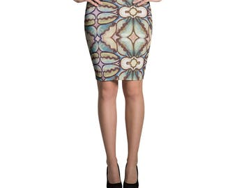 African Cowry Pencil Skirt