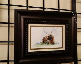 Longhorn Cow in the Bluebonnets 2 5x7