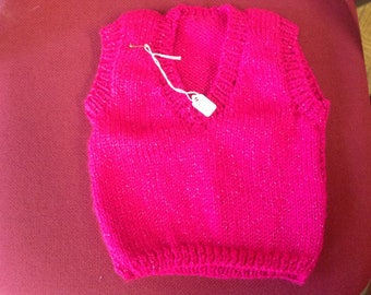 Hand made Pink with glitter waistcoat 6-12 months