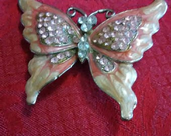 Vintage beautiful pink butterfly brooch or pendant