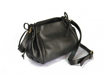MJ Lady Leather Bag Handmade in Morocco, Black Color Leather Goods