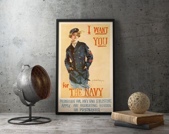 US Navy Recruiting Propaganda Poster - American vintage militaria wall art print, military decor, us, army, usn, usmc, naval, recruitment
