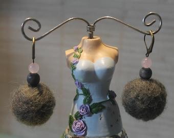 Women/girls pink & gray carded wool/wood/rose quartz earrings