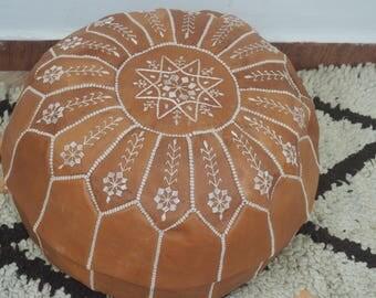 emboirdered tan  Morocaan handmade poufs (ustuffed poufs/Moroccan style