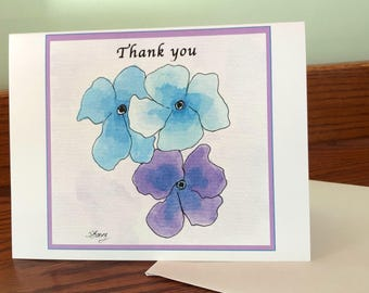 Purple Pansy note cards, set of 4 - prints from original watercolor & Ink