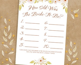 How Old Was The Bride, Bridal Shower Printable Games, Bachelorette Party, Pink And Green Floral, Instant Download