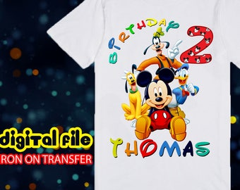 Iron On Transfer Mickey Mouse Birthday Shirt, Mickey Mouse Iron On Transfer, Mickey Birthday Boy Iron On Transfer, Personalize