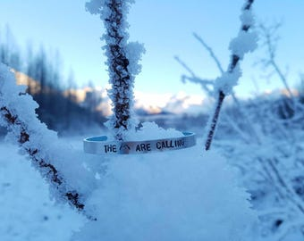 The Mountains Are Calling // Hand Stamped Aluminum Cuff