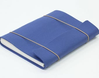 Handmade sketchbook with blue felt cover A5