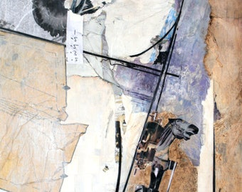 Original Mixed Media Collage Painting 16x20 Carousel II by Angie Brown