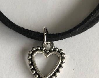 Black Heart Faux Suede Bracelet/Faux Suede Bracelet/Heart Faux Suede Bracelet/Black Heart Bracelet/Charm Bracelet/Ladies Thank You Gift