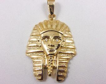 NEW! Solid 14K Yellow Gold Diamond King Tut Pharaoh Pendant Charm, 8.4 grams