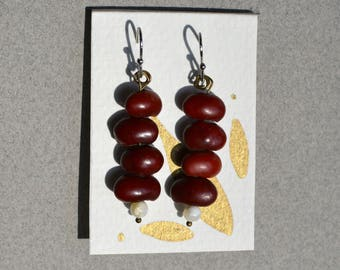 African Red Bean and Natural Stone Hook Earrings