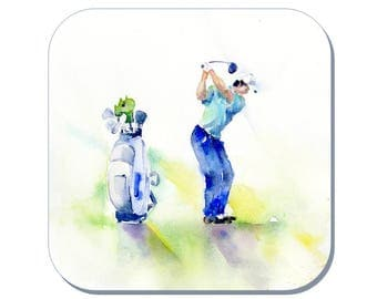 Keep Your Eye on the Ball - Gentleman's Golf Coaster (Corked Back) - from an original Sheila Gill Watercolour Painting