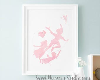 Peter Pan Party, Neverland Peter Pan Birthday Party, Peter Pan Party Favors, Pink Shower Baby Shower Room Decor Peter Pan Art Print