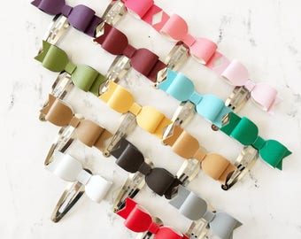 Solid Smooth Petite Snap Clip - Faux Leather - Snap Clips - 50mm Clips -