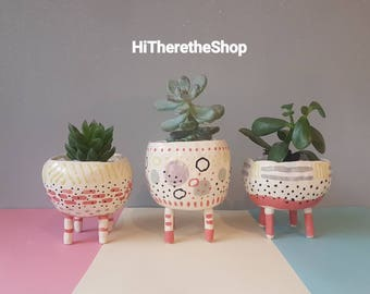 The Four Legs Collection - Ceramic, succulent pot, cactus pot, plant pot, home studio pottery, home decor, legged plant pot, pinch pot.