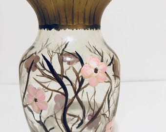 Blossom Cherry Hand Painted Glass Vase