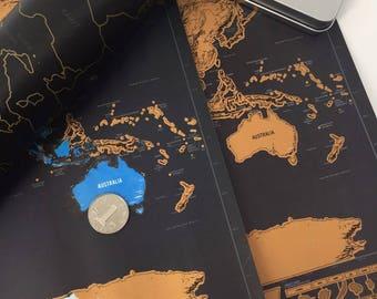 World Scratch Map Poster