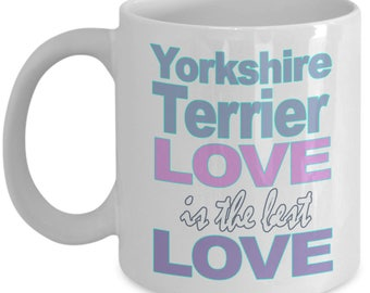 Yorkshire Terrier Mug - Yorkie Mug - Yorkshire Terrier Gift - Terrier Dog Lover - Black White Ceramic Coffee Tea Cup 11 oz 15 oz