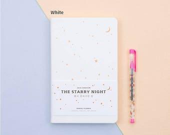 2018 Planner Agenda minimalist  Monthly Diary Scheduler Notebook Ardium The Starry Night