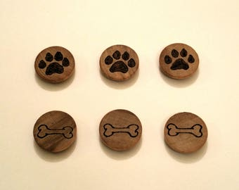 Dog Lovers Woodburnt Magnets