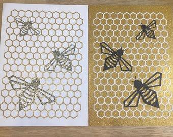 Pair of Bee Honeycomb Geometric Papercuts Glitter Gold & White