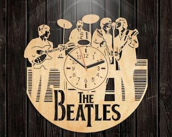Handmade Clock, Handmade Gifts, Beatles Wooden Clock, Music Gift For Men, Valentines Day Gift, Wall Clock Large, Beatles Wood Clock