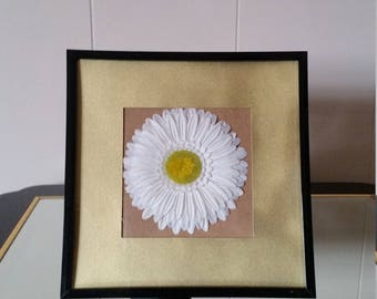 White Faux Flower with Gold Border Picture Frame