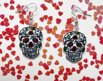 White skulls with flowers