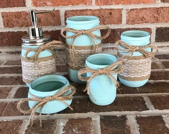 Set of 5 mason jars with soap pump