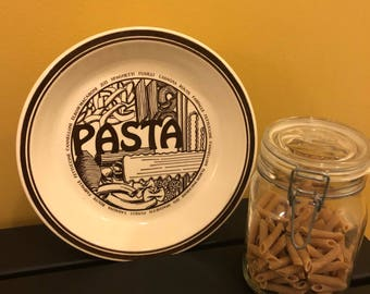 Vintage pasta bowl with recipe
