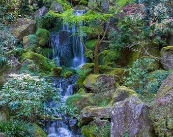 Fine Art Photography,Home Wall Art,Japanese Garden Waterfall,Waterfall Photography,Giclee Print,Portland Oregon Art,Wedding Gift,
