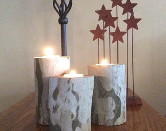 Sycamore Candle Holders,Tree,Log,Natural,Primitive,Rustic