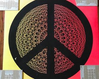 Vintage Black Light Peace Poster