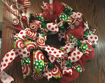 Whoville inspired Deco Mesh Evergreen Wreath