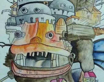 Howl's Moving Castle Watercolor