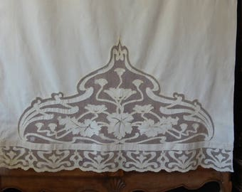 Antique French linen & Tulle Panel/curtain embroidered flowers-ART NOUVEAU patterns